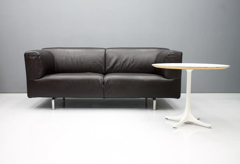 Late 20th Century Dark Blue Leather Sofa 250 MET by Piero Lissoni for Cassina 1988 For Sale