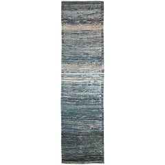 Nazmiyal Collection Dark Blue Modern Moroccan Style Runner. 3ft 1 in x 12ft 3 in