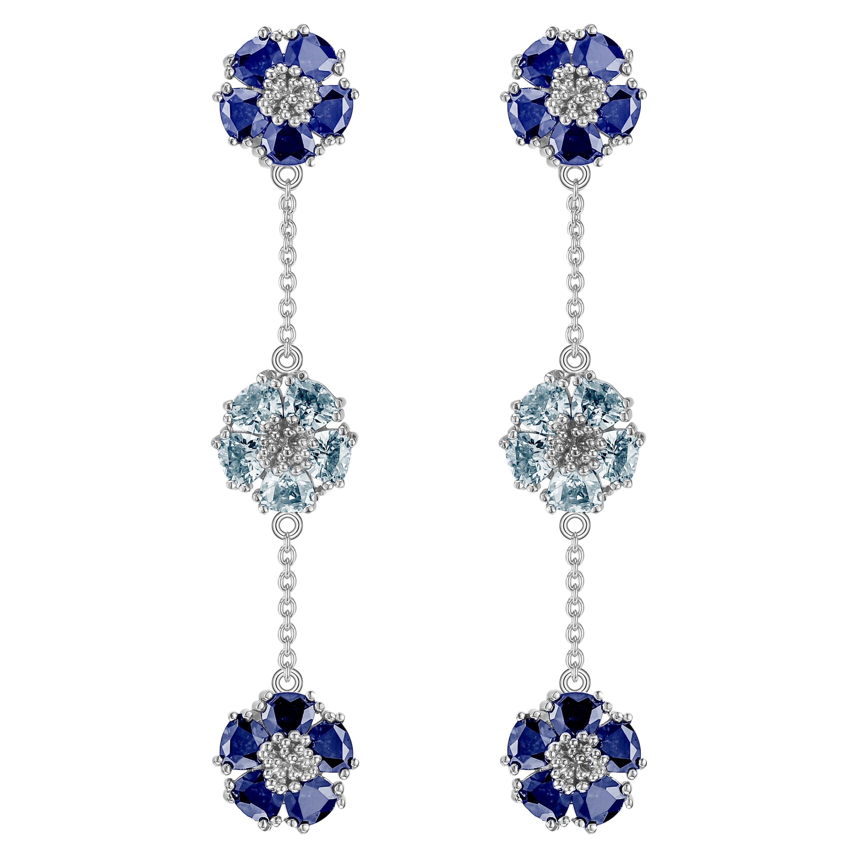 Dark Blue & Light Blue Topaz Blossom Gentile Alternating Chandelier Earrings