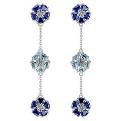 Dark Blue & Light Blue Topaz Blossom Gentile Alternating Chandelier Earrings