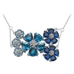 Dark Blue Sapphire and Light Blue Sapphire Blossom Renaissance Necklace