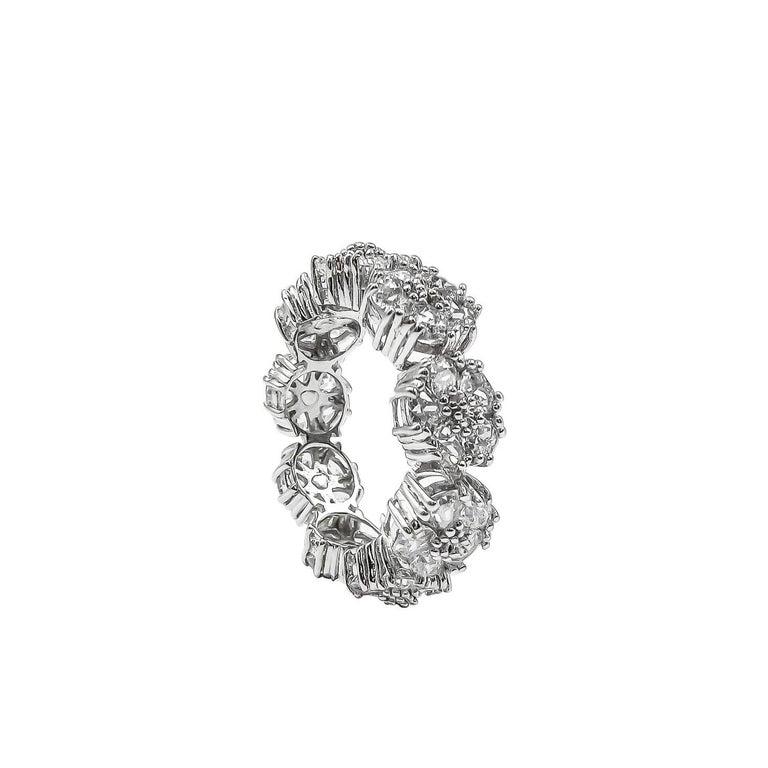 Trillion Cut Dark Blue Topaz Blossom Gemstone Trinity Ring For Sale