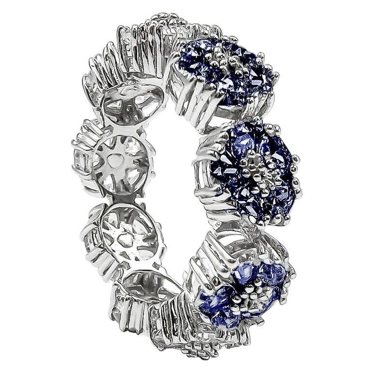 Dark Blue Topaz Blossom Gemstone Trinity Ring For Sale