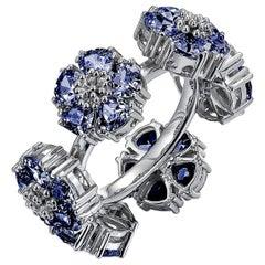 Dark Blue Topaz Blossom Gemstone Wraparound Ring