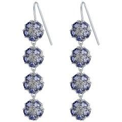 Dark Blue Sapphire Blossom Gentile Chandelier Earrings