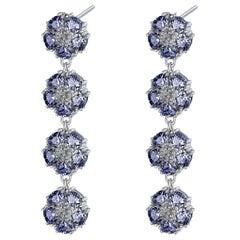 Dark Blue Topaz Blossom Gentile Chandelier Earrings