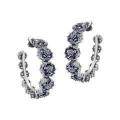 Dark Blue Sapphire Blossom Gentile Gemstone Hoops