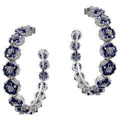 Dark Blue Sapphire Blossom Gentile Large Gemstone Hoops
