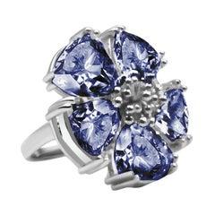 Dark Blue Sapphire Blossom Large Stone Ring