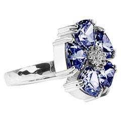 Dark Blue Topaz Blossom Large Stone Ring
