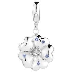 Dark Blue Sapphire Blossom Pave Detachable Charm/Pendant