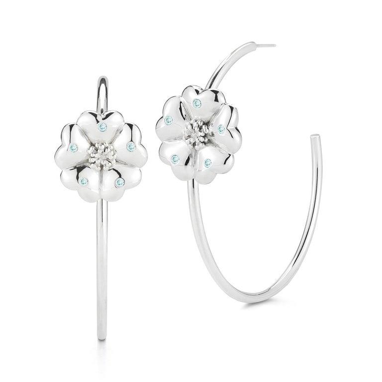 Modern Dark Blue Sapphire Blossom Pave Open Hoop Earrings For Sale