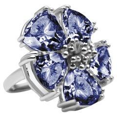 Dark Blue Topaz Blossom Stone Ring