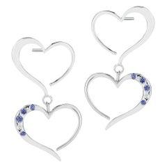 Dark Blue Sapphire Double Heart Pave Dangle Earrings