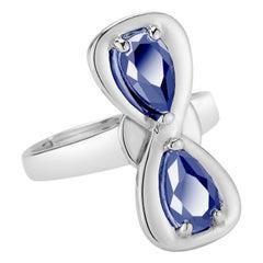 Dark Blue Sapphire Large Infinity Stone Ring
