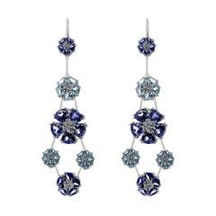 Dark Blue Sapphire & Light Blue Sapphire Blossom Double-Tier Chandelier Earrings