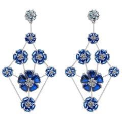 Dark Blue Topaz & Light Blue Topaz Blossom Triple-Tier Chandelier Earrings