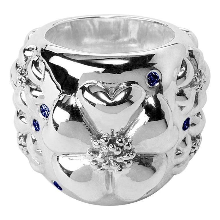 Dark Blue Topaz Blossom Pave Statement Dome Ring
