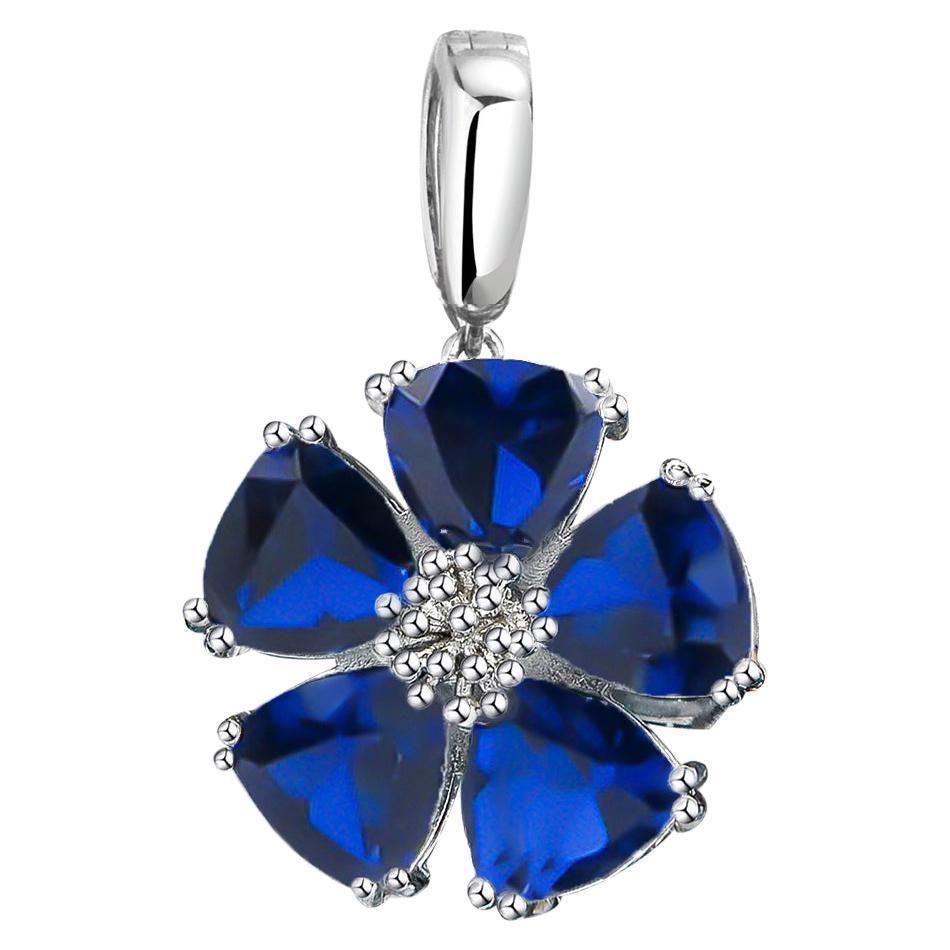 Dark Blue Topaz Blossom Stone Pendant