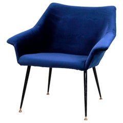 Dark Blue Velvet Italian Design Armchair, 1960s