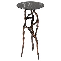 Dark Bronze Side Table with Marquina Marble Top