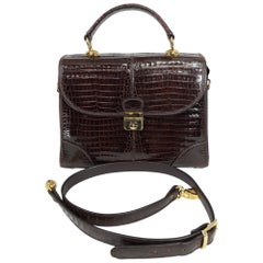 Dark Brown Caiman Top Handle Satchel with Shoulder Strap