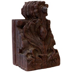 Dark Brown Carved Wood Architectural Fragment