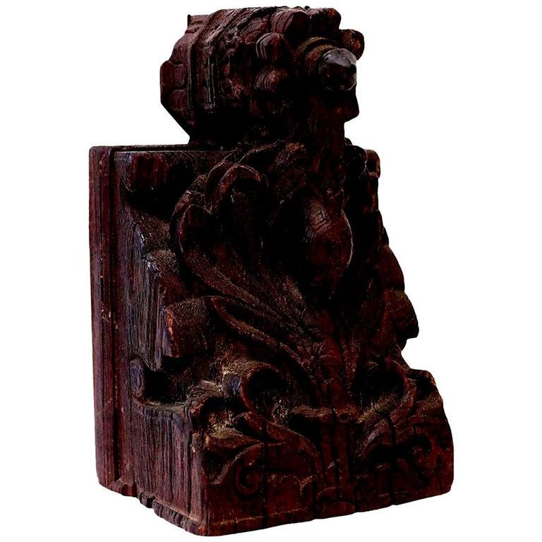 Dark Brown Carved Wood Architectural Fragment For Sale 1