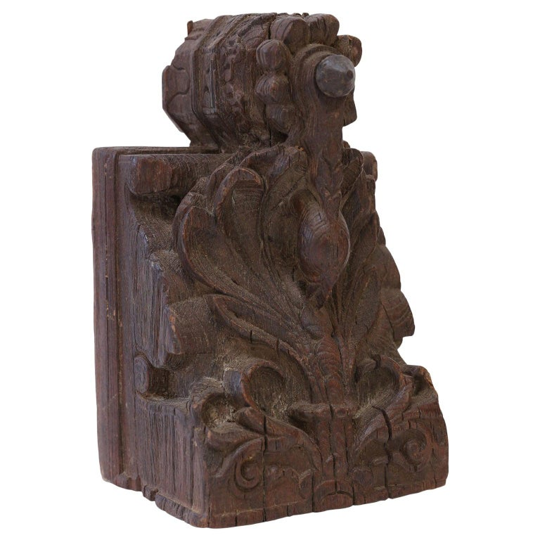 Dark Brown Carved Wood Architectural Fragment For Sale