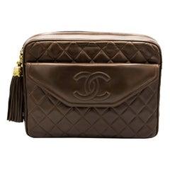 Dark Brown Chanel Leather Crossbody Bag