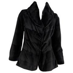 Dark Brown Dennis Basso Sheared Mink Fur Coat