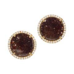 Dark Brown Diamond Slice Studs with Diamond Pave Halo