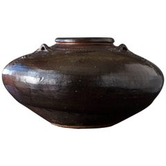 Dark Brown Glazed Rustic Asian Storage Vessel with Decorative Ornaments