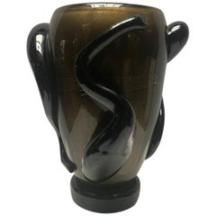 Dark Brown and Gold Murano Glass Vases by Costantini