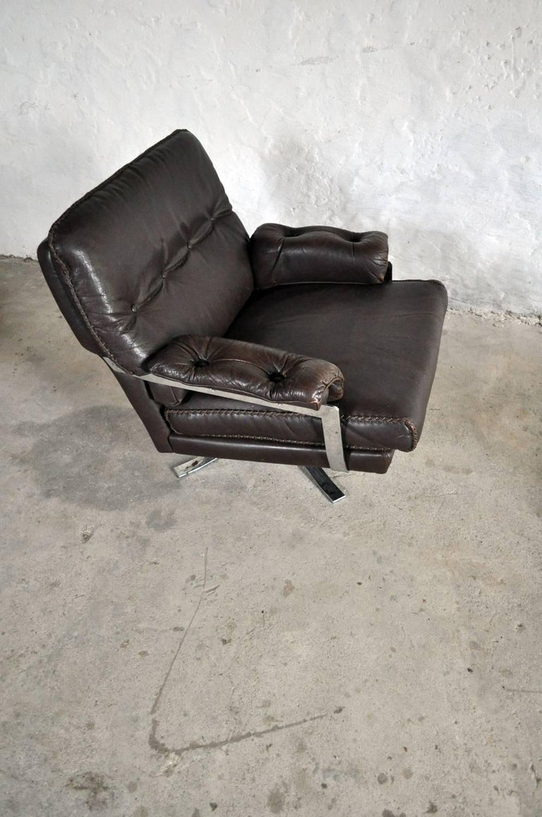 Dark Brown Leather and Chrome Lounge Chair and Stool by Arne Norell In Excellent Condition For Sale In Vordingborg, DK