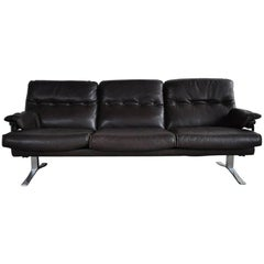 Dark Brown Leather and Chrome Three-Seat Sofa by Arne Norell