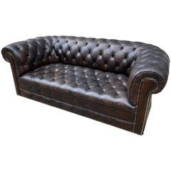 Dark Brown Leather Chesterfield Loveseat