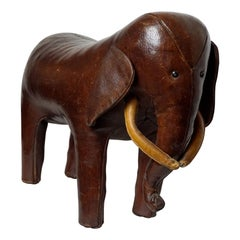 Dark Brown Leather Elefant Footstool by Dimitri Omersa for Abercrombie & Fitch