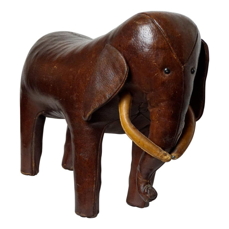 Dark Brown Leather Elefant Footstool by Dimitri Omersa for Abercrombie & Fitch For Sale