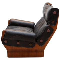 Dark Brown Leather Lounge Chair by Osvaldo Borsani 1960s Model Canada-P110