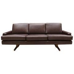 Dark Brown Midcentury Scandinavian Sofa by Fredrik Kayser