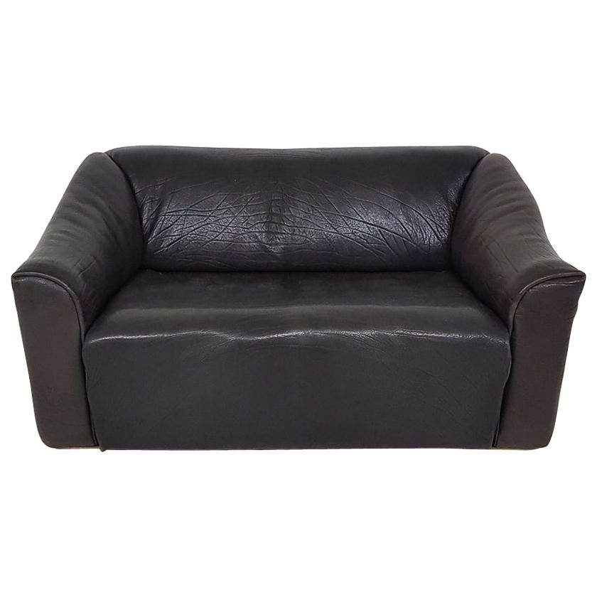 Dark Brown Neck Leather De Sede DS47 Two-Seat Sofa, Switzerland, 1970s