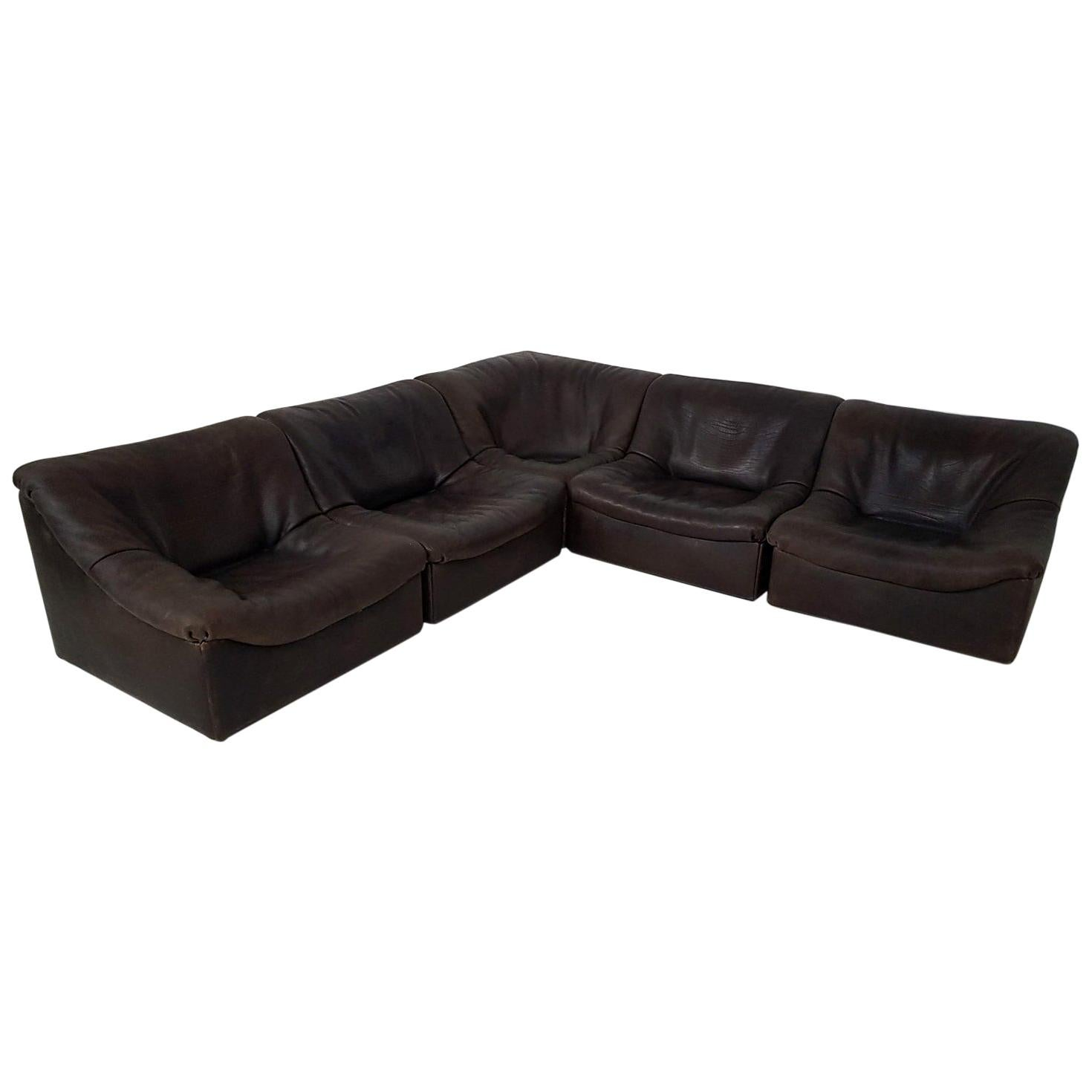 "Dark Brown Neck Leather Modular ""DS46"" Sofa by De Sede, Switzerland, 1970s"