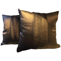 Dark Brown Silk Cushions with Pleated Band Detail Square Size