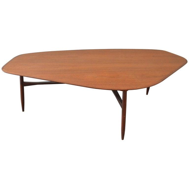 Dark Teak Coffee Table: Dark, Brown Teak Coffee Table By Svante Skogh, 1953 Sweden