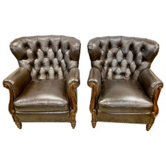 Dark Brown Tufted Leather Club Cigar Chairs Chesterfield Wingbacks