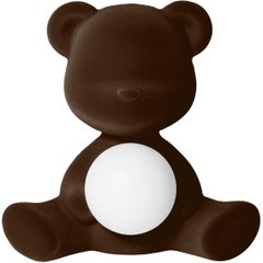 Dark Brown Velvet Teddy Bear Lamp with LED by Stefano Giovannoni, Made in Italy