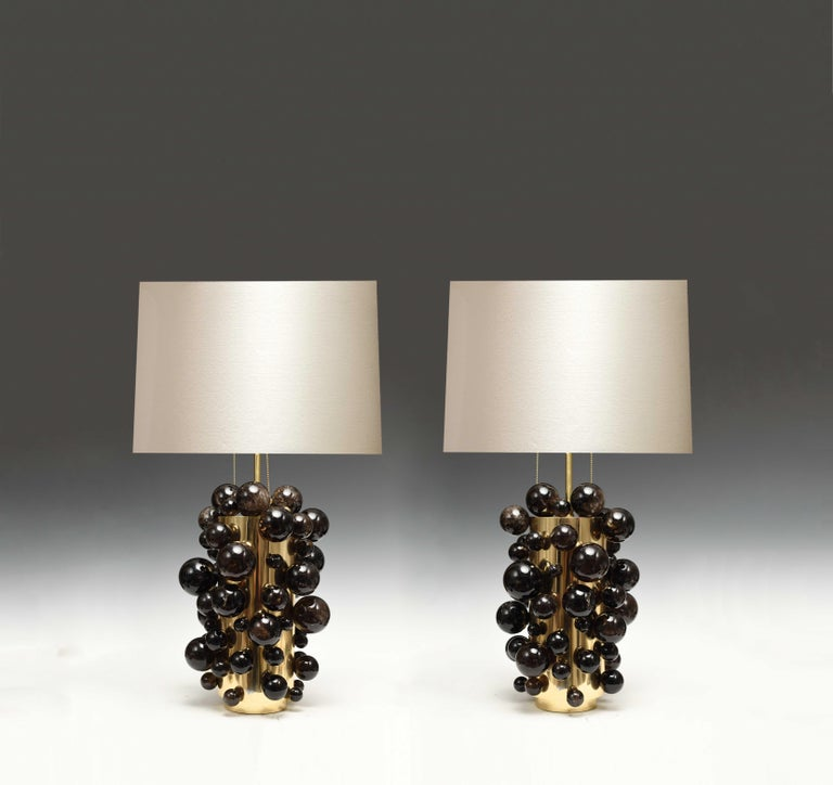 Dark Bubble Rock Crystal Lamps by Phoenix In Excellent Condition For Sale In New York, NY