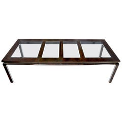 Dark Burl Wood Glass Top Inserts Two Extension boards Leaves Dining Table