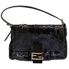 Dark Chocolate Brown Fendi Sequence Handbag with Strap